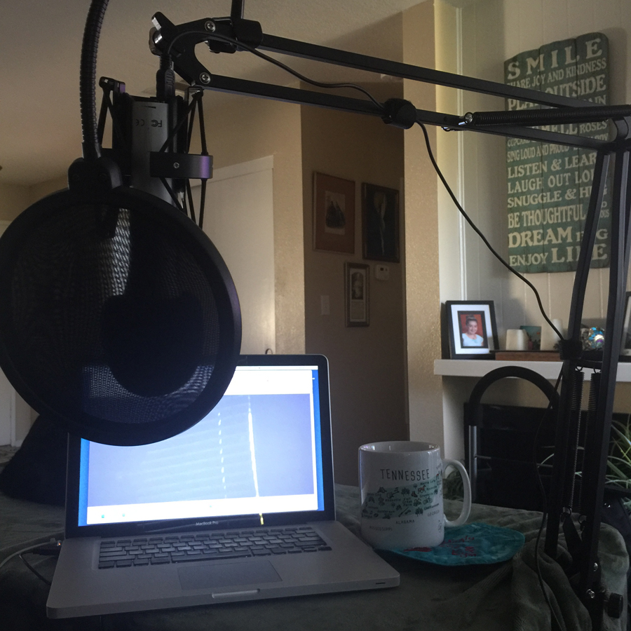 The new scissor boom setup, ready to record episode 03!