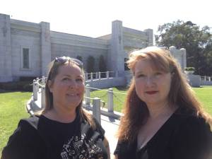 Kym and Kris in front of the original mausoleum in Fairhaven Cemetery, Santa Ana, CA