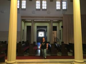 Kym inside the original Fairhaven Mausoleum