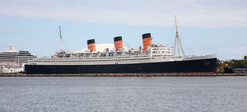 View of the Queen Mary from the harbor side, Long Beach Harbor, CA.